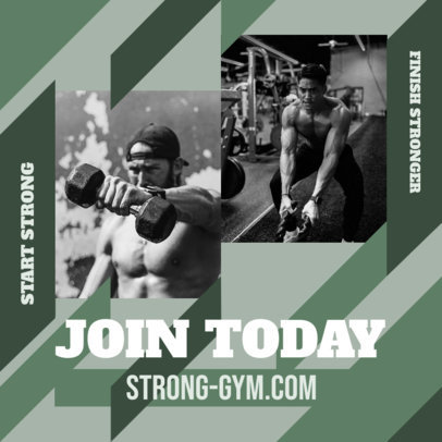 Instagram Post Design Generator for a Gym Featuring a Geometric Background 3639c