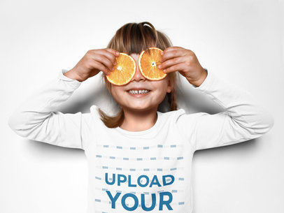 Long Sleeve Tee Mockup of a Girl Playing With Some Orange Slices m5826-r-el2