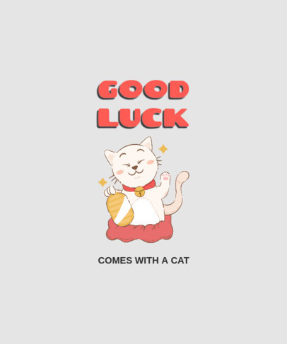 Cartoonish T-Shirt Design Template Featuring a Lucky Cat 2176c-el1