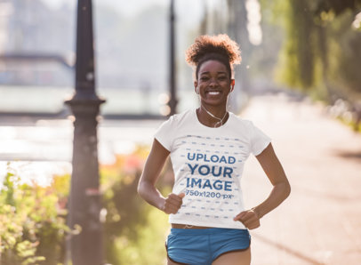 Activewear Tee Mockup of a Happy Woman Sprinting 45363-r-el2