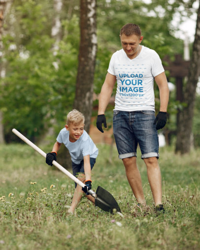 V-Neck T-Shirt Mockup Featuring a Father Gardening With His Son 37332-r-el2