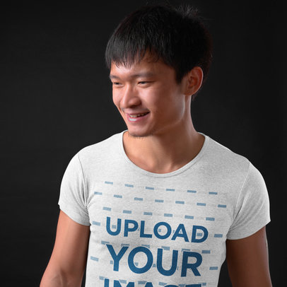 Heathered T-Shirt Mockup Featuring a Smiling Man  40349-r-el2