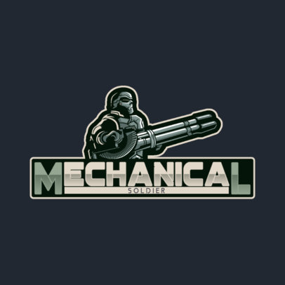 Gaming Logo Template Featuring a Character with a Heavy Machine Gun 4305d