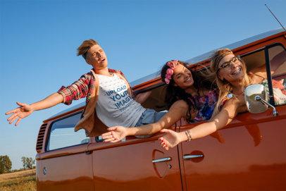 T-Shirt Mockup of a Young Man on a Summer Road Trip 44936-r-el2