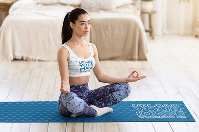 Yoga Mat and Sports Bra Mockup Featuring a Woman Meditating in Her Room m6757-r-el2