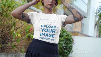 T-Shirt Video Featuring a Tattooed Woman Walking Down the Street 3119v