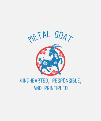 T-Shirt Design Maker with a Goat Clipart Inspired by the Chinese Zodiac 3646i
