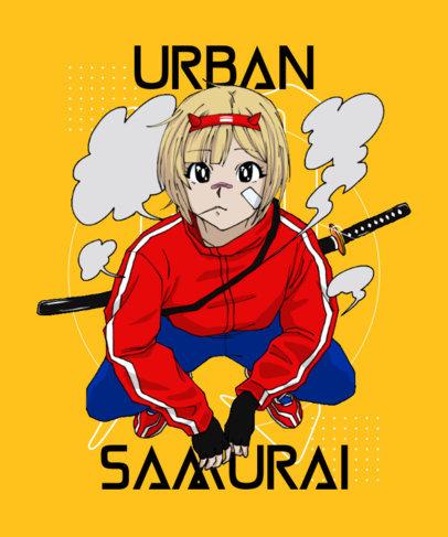 Illustrated T-Shirt Design Maker Featuring an Urban Samurai 3651g