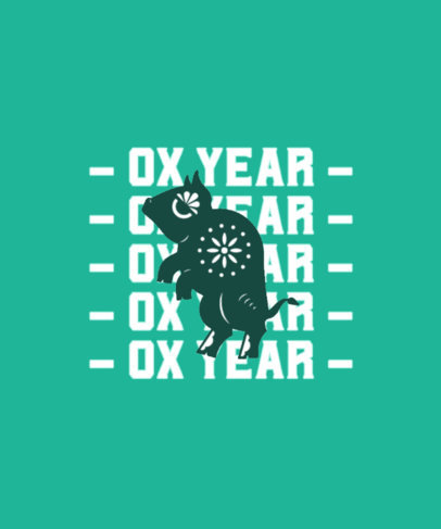 Chinese Zodiac T-Shirt Design Template for Ox Year-Born People 3647i