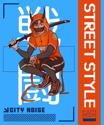 T-Shirt Design Template Featuring an Urban Samurai Inspired by Anime 3648d
