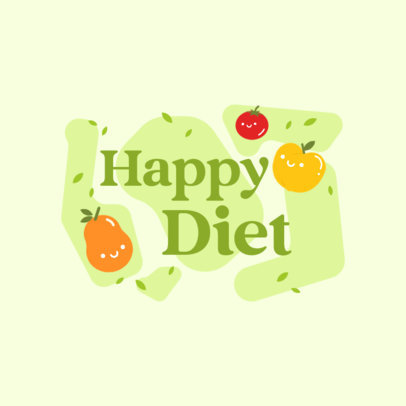 Logo Generator for Dietary Products Featuring Kawaii Fruit Graphics 4316b
