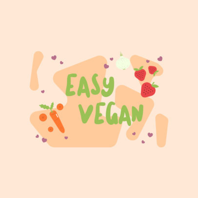Logo Template With a Vegan Theme and Fruit Illustrations 4316g