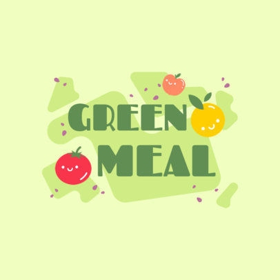 Logo Template With a Vegetarian Theme and Kawaii Fruit Icons 4316j