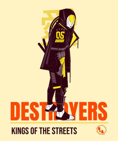 T-Shirt Design Maker Featuring a Futuristic Destroyer Warrior 3650f