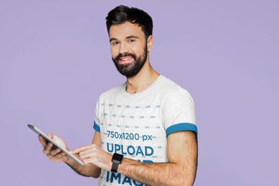 Mockup of a Bearded Man Wearing a T-Shirt with Color Sleeves 44367-r-el2