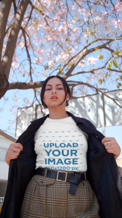 T-Shirt Video Featuring a Woman with a Septum Piercing 3120v