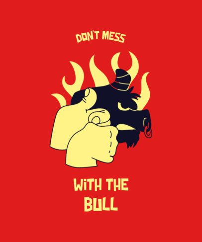 T-Shirt Design Creator with a Bull Hand Shadow Figure Illustration 3674i