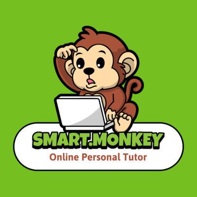 Logo Maker Featuring a Cartoonish Monkey for a Children's e-Learning Platform 3938b-el1