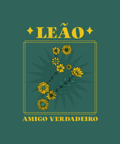 Floral T-Shirt Design Creator with an Astrology Quote in Portuguese 3914f-el1