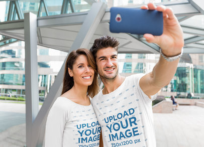 Round-Neck T-Shirt Mockup of a Couple Taking a Selfie 44851-r-el2