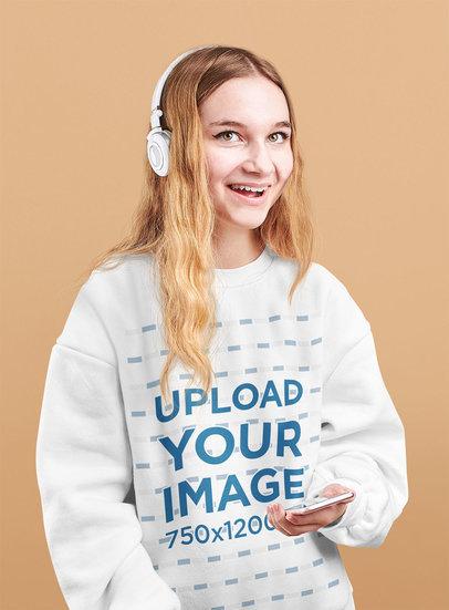 Sweatshirt Mockup Featuring a Woman Listening to Music in a Studio m6920-r-el2