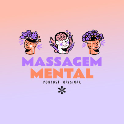 Podcast Cover Template for a Brazilian Mental Health Podcast 4334d