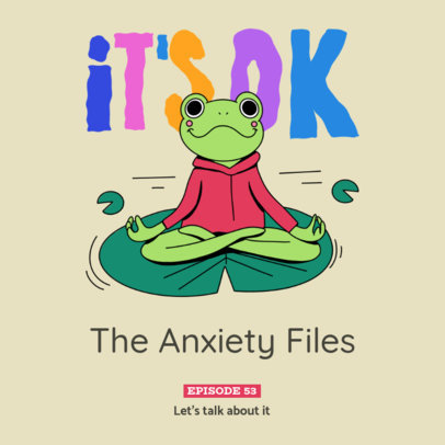 Podcast Cover Generator for a Mental Health-Themed Episode Featuring a Frog Clipart 4332b