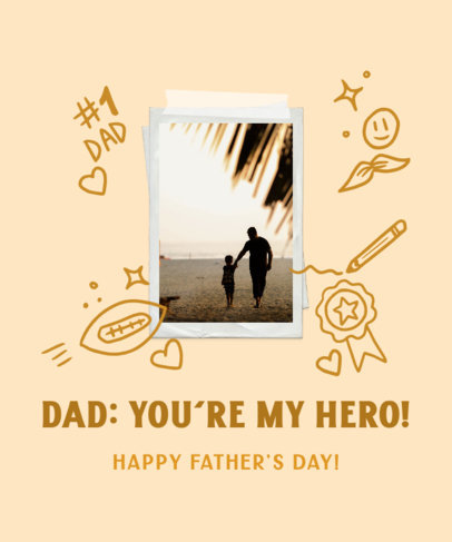 T-Shirt Design Template to Celebrate Father's Day Featuring an Instant Picture and Doodles 3669c