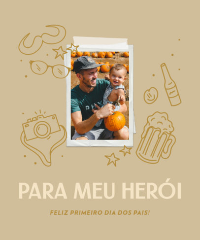 Father's Day Themed T-Shirt Design Maker Featuring a Quote in Portuguese 3669f