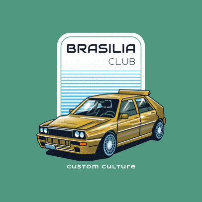 Classic Cars Club Logo Generator with an Illustrated 80's Car 4338l
