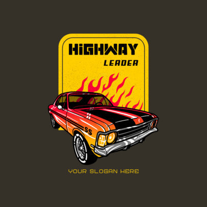 Logo Template Featuring a Muscle Car with Flame Graphics 4338a