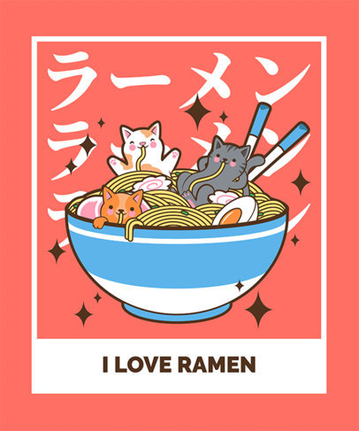 Kawaii T-Shirt Design Template with Delicious-Looking Ramen Graphics 3689