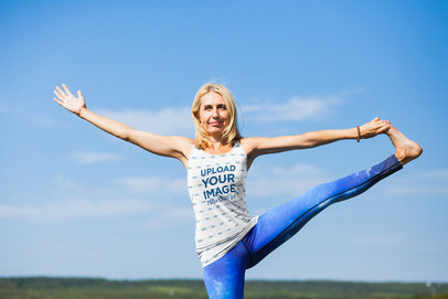 Tank Top Mockup of a Woman Stretching Her Leg in a Yoga Pose M5881-r-el2