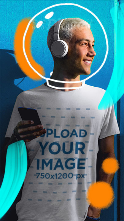 Illustrated T-Shirt Video of a Happy Man Listening to Music 3293v-el1