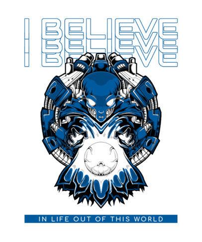 T-Shirt Design Maker Featuring an Alien Graphic for UFO Believers 3959d-el1
