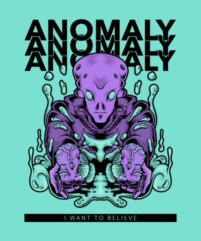 T-Shirt Design Template with a Sci-Fi Alien Illustration 3959e-el1
