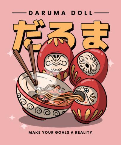 Illustrated T-Shirt Design Generator Featuring Daruma Dolls with a Ramen Bowl 3687b