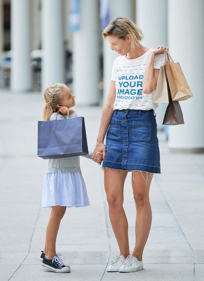 Heather T-Shirt Mockup of a Woman Shopping With Her Little Daughter 46905-r-el2