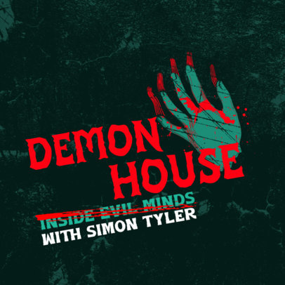 Podcast Cover Template With Horror-Themed Graphics 4357a