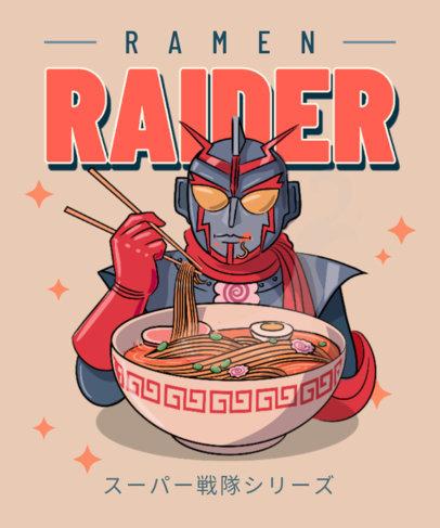 T-Shirt Design Template Featuring a Character Eating Ramen 3687a