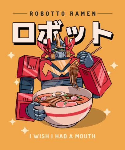 Cartoonish T-Shirt Design Maker Featuring a Futuristic Robot Eating Ramen 3687e