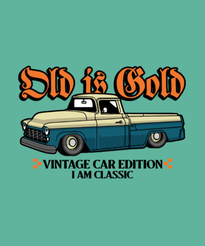 T-Shirt Design Maker for Car Enthusiasts Featuring a Vintage Pick-Up Truck 3679e