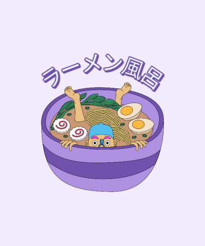 T-Shirt Design Generator with a Quirky Illustration of Ramen 3691k