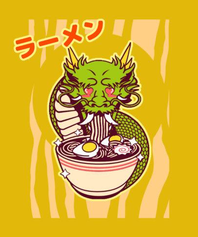 Ramen-Themed T-Shirt Design Maker with a Kawaii Graphic of a Dragon 3688e