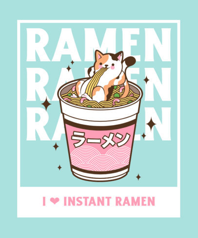 T-Shirt Design Template Featuring a Sassy Cat in a Giant Cup of Noodles 3689d