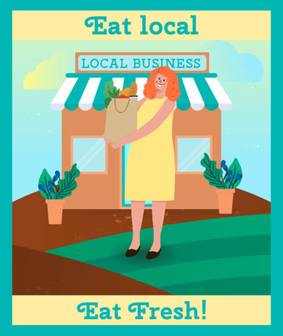 Tote Bag Design Creator with a Colorful Illustration to Support Local Markets 3692c