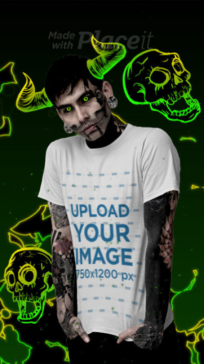 T-Shirt Video of a Tattooed Man Featuring Animated Goth Graphics 3301v