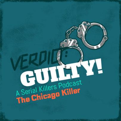 True Crime Podcast Cover Design Generator Featuring a Handcuffs Clipart 4357l