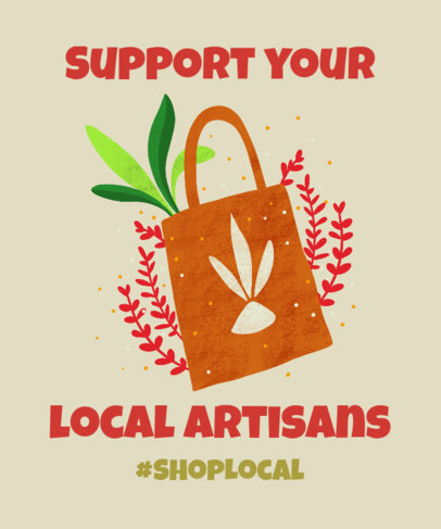 T-Shirt Design Creator for a Shop Local Support Campaign with Artisanal Graphics 3695f