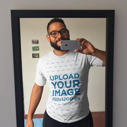 Selfie of a Dude with Glasses and a Beard Wearing a Round Neck Tee Mockup a16013
